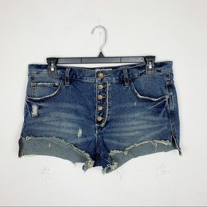 Free People Shorts - Free People Hi-Rise Button Fly Jean Shorts Size 30